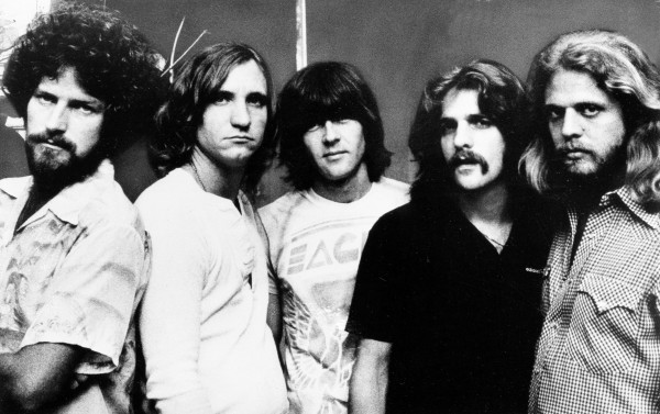 Since its formation in 1971, the Los Angeles based rock band The Eagles have seen all six of their albums sell more than a million copies. Seen together are members of the five man group, from left; Don Henly, drums; Joe Walsh, guitar; Randy Meisner, bass; Glenn Frey, guitar; and Don Felder, guitar. 1977 photo. (AP Photo)
